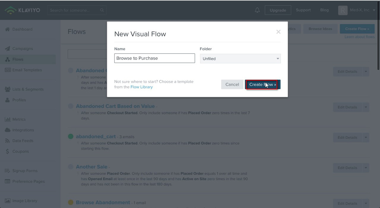 "Name the flow, in this case ""Browse to Purchase"" and click ""Create Flow"""